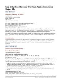 food nutritional sciences tetics food administration option b s department