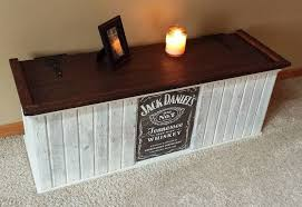 rustic wood Jack Daniels whiskey chest trunk <b>storage box</b> white ...