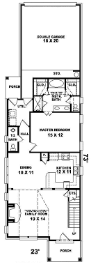 Havercliff Narrow Lot Home Plan D    House Plans and More