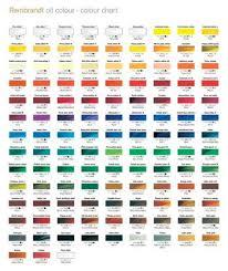 Rembrandt Pastel Color Chart Royal Talens Rembrandt Oil Paint Printed Colour Chart In