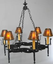 large 6 light wrought iron hand forged chandelier
