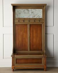 Hall Tree Coat Rack Storage Bench Palmiro Hall Tree Coat Rack at Horchow DIY use an old door and 3