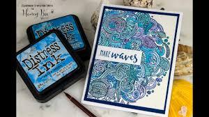 Zen Ocean, 3 weeks 3 ways, Part 3: Blue Monochromatic Cardmaking Tutorial,  Distress Ink & Watercolor