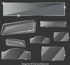 Glass Tags Templates Luxury Dark Grey Shiny Decor Vectors