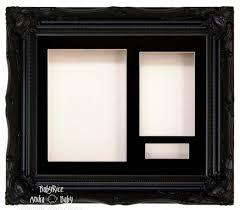 black swept ornate deep box frame 12x10 black 3 mount white back