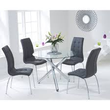 mark harris odessa glass dining table 100cm round with 4 california grey chairs
