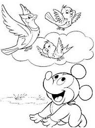 Small Picture Birds Coloring Pages Baby Mickey And Birds Spring Disney