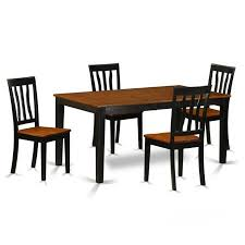 7 East West Furniture NIAN5BCHW Wood Seat Kitchen Table Set  Dining