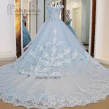 Light Blue Wedding Dress With Sleeves Us 287 82 22 Off Vestido De Noiva Princesa Luxo Vintage Light Blue Wedding Dresses 2017 Lace Wedding Gowns Ball Gown Flower Plus Size Bride Dress In