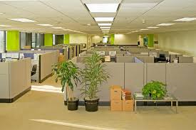 modern open plan interior office space. Corporate Office Settings Showing Desks, Cubicles, Files, And Conference Space Modern Open Plan Interior