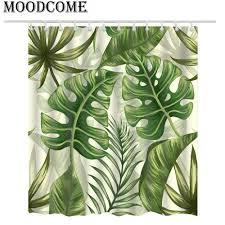 Grünpflanze Duschvorhang Tropische Pflanzen Badezimmer Vorhang Tropisches Duschblatt Grün Für Das Badezimmer