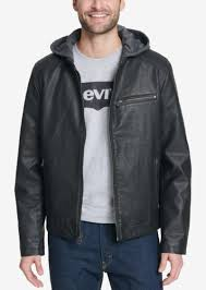 levi s men s faux leather hooded jacket