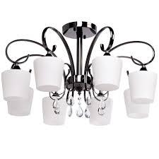 elegant 8 arm ceiling chandelier in glossy black with matt glass shades