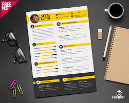 Download Creative Resume Template Free Psd Psddaddy Com With Best