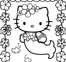Hello Kitty Mermaid Coloring Pages Cute Mermaid Coloring Pages Fair
