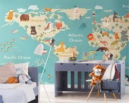 Beibehang Custom 3d Behang Cartoon Kaart Kinderkamer Behang Tv Sofa