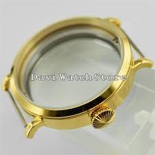 <b>46mm Corgeut</b> Gold Steel Men Watch Case Fit ETA 6497/6498 ...