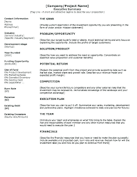 Business Plan Executive Summary Sample Format Example
