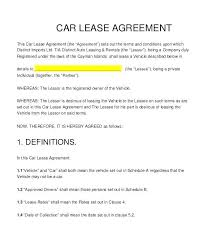 Car Lease Contract Sample Facile Concept Agreement Template Word ...
