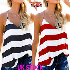 Womens Backless <b>Striped</b> Baggy <b>Vest</b> Tops Ladies <b>Summer Sexy</b> ...