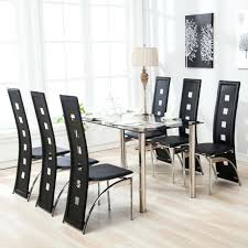 6 chair dining table set dining table set 6 chairs gl metal kitchen room furniture 6 chair dining table set
