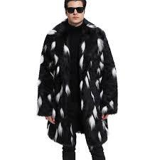2019 men s winter warmer faux fur coat long style slim turn down collar black white fur jacket outwear overcoat luxury trench 6q2308 from baimu