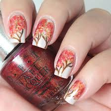 gel nail designs for fall 2014. autumn tree nail art gel designs for fall 2014
