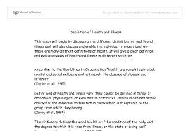 a sociological definition of health and illness university  document image preview