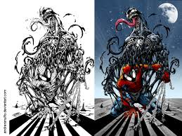 Small Picture Coloring side by side Spider Man and Venom by andreranulfo on