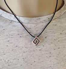 greek key pendant black cord greek jewelry gift for him