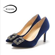 Ladies Shoes Design Weiqiaona 2019 Flock Brand Design Women Shoes New Luxury Crystal Pointed Toe High Heels Party Shoes Ladies Shoes Wedding Shoes