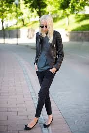 ellen claesson is wearing a black leather jacket from lxls t shirt from acne