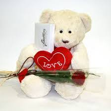 6 inch teddy with card heart and single rose