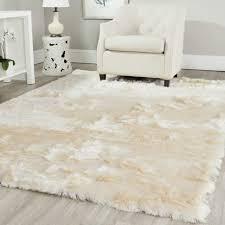 fuzzy white area rug