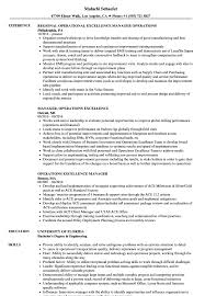 Operational Excellence Example Operations Excellence Manager Resume Samples Velvet Jobs