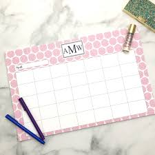 Monogrammed Personalized Monthly Desk Calendar 2 Sizes