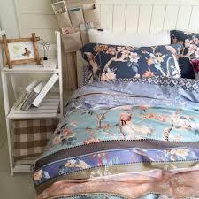 vintage birds botanical blue egyptian cotton duvet cover set