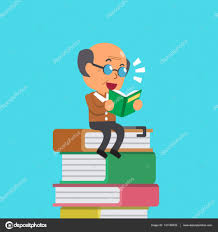 cartoon old man reading book for design vector by jaaak