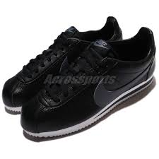 nike classic cortez leather black grey men shoes sneakers 749571 011