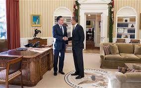 the oval office. President Barack Obama And Former Massachusetts Gov. Mitt Romney Talk In The Oval Office
