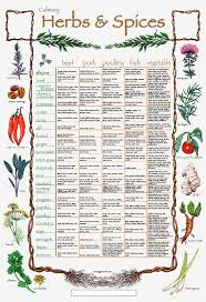 Printable Culinary Herb Chart Herbs And Spices Cooking Chart The Energetics Of Kitchen Herbs