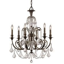 bronze and crystal chandelier. Crystorama Regis Collection 6-light English Bronze Crystal Chandelier And