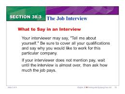Section 38 3 The Job Interview Ppt Download