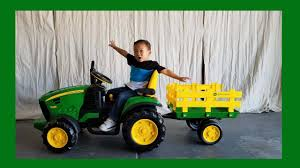 toddler unboxing john deere ground force tractor 12 volt ride on by peg pergo damon s toy world