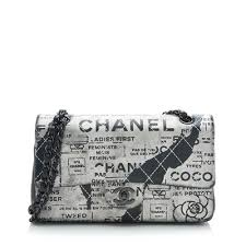 black and white chanel bags. chanel hand painted lambskin classic medium flap bag black and white bags