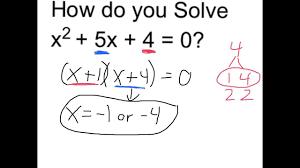 solve x 2 5x 4 0