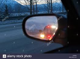 Cop Lights Rear View Mirror Police Car Lights Mirror Stock Photos Police Car Lights