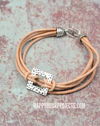 layers of leather pewter diy leather bracelet
