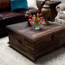 Coffee Table, Remarkable Teak Square Ancient Wood Coffee Table Trunks Idea  To Setup Living Room