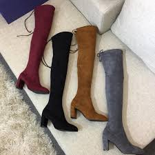2018 new arrival luxury women s slim high heeled stretch leather stovepipe long knee high boots with original box fast